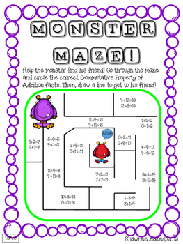 Monster Math Commutative Property of Addition