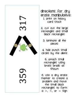 Monster Math Comparing Numbers 2nd Grade