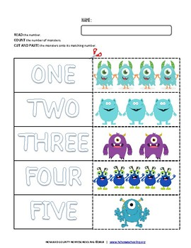 Monster Math | CUT-N-PASTE