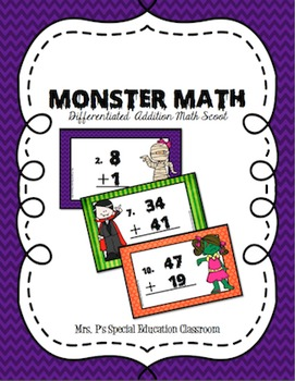 Monster Math- Differentiated Addition Math Scoot