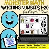Monster Math Digital Drag and Drop Activity- Matching Numb
