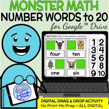 Monster Math Digital Drag and Drop Activity-Number Words to 20 Distance Learning
