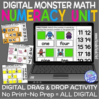 Monster Math Digital Drag and Drop UNIT for Numeracy (1 to 20) DISTANCE LEARNING