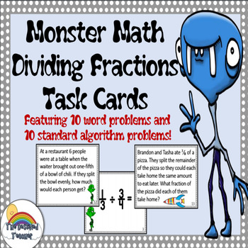 Monster Math Dividing Fractions Word Problems Task Cards Activity