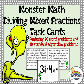 Monster Math Dividing Mixed Fractions Word Problems Task Cards Activity