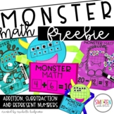 Monster Math FREEBIE | Addition and Subtraction to 10 and 20