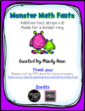 Monster Math Fact Strips Addition 1-10