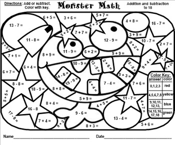 Monster Math Facts - Addition & Subtraction to 18 - PDF