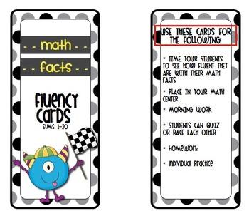 Monster Math Fluency Fact Cards (sums 1-20)