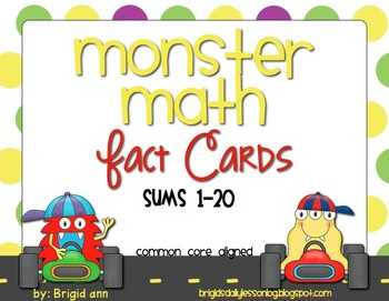 Monster Math Fluency Fact Cards (sums 1-20)