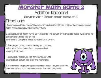 Monster Math Game Pack- Place Value Notation, Addition, and Subt. to Millions