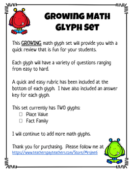 Monster Math Glyph Set