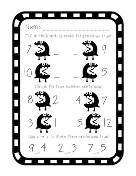 FREEBIE! Monster Math: Greater Than, Less Than Booklet with Assessment Worksheet