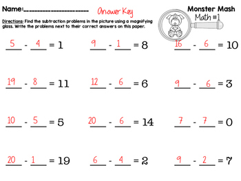 Monster Math: Halloween Hidden Addition and Subtraction Picture Centers