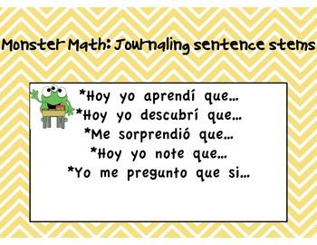Monster Math Journaling Sentence Stems in Spanish