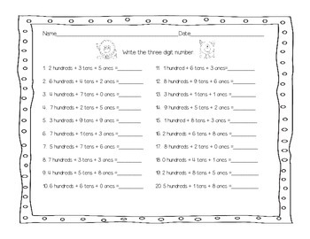 Monster Math-Learning about Three Digit Numbers