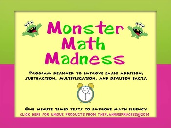 Monster Math Madness- Leveled Math Fact Fluency Center or