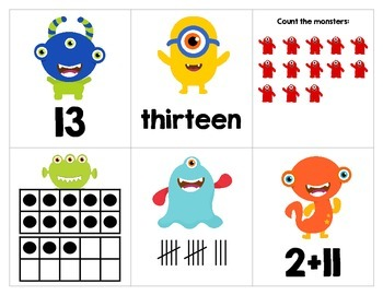 Monster Math Match 11-20 Counting, Number Words, Ten Frames, Tally Marks, Adding
