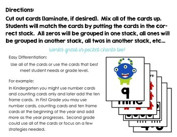 Monster Math Match - Counting, Number Words, Ten Frames, Tally Marks & Addition