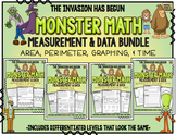 Monster Math!  Measurement & Data.  Area, Perimeter, Time, and Graphing BUNDLED