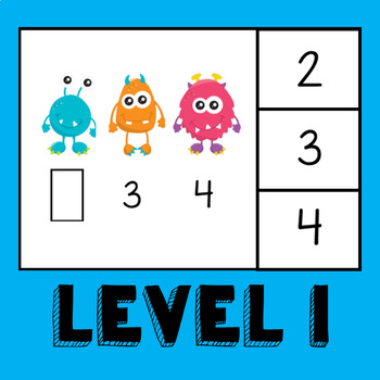 Monster Math: Missing Numbers Task Box **TWO LEVELS**