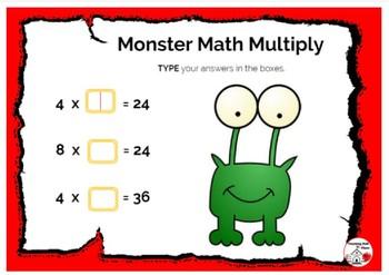 DIGITAL ... FREE Monster Math Multiply ... BOOM Internet™ Task Cards