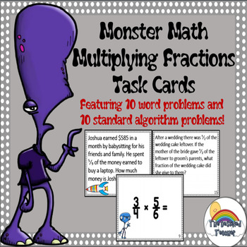 Monster Math Multiplying Fractions Word Problems Task Cards Activity