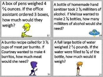 Monster Math Multiplying Mixed Fractions Word Problems Task Cards Activity