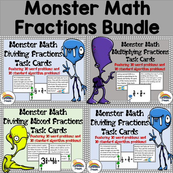 Monster Math Multiplying and Dividing Fractions Word Problems Task Cards Bundle