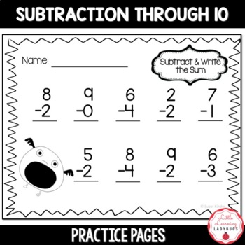 Monster Math {No-Prep Subtraction Practice Sheets up to 10}