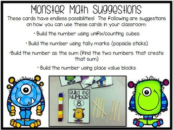 Monster Math {Number Building Cards 1-30}