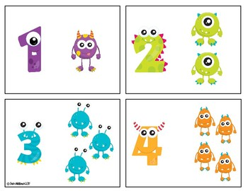 Monster Math Number Cards