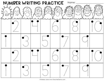 monster math number writing practice 0 9 and 1 10 by teacher gems. Black Bedroom Furniture Sets. Home Design Ideas
