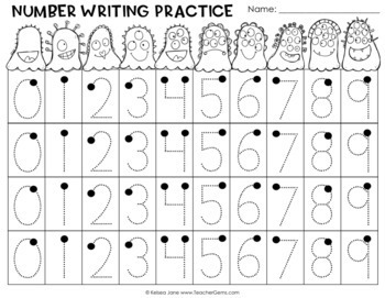 Monster Math Number Writing Practice 0-9 and 1-10 by Teacher Gems