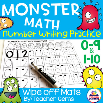 Monster Math Number Writing Practice 0-9 and 1-10