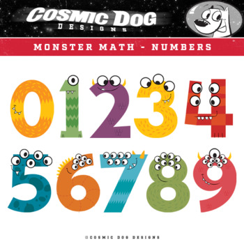 Math Numbers Clip Art - Fun Monsters Set