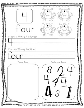 Monster Math Numbers & Counting Practice Pack
