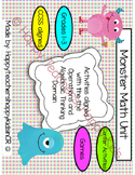 Monster Math-Operations and Algebraic Thinking Unit