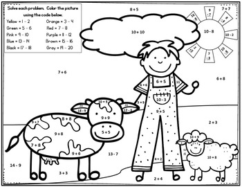 Monster Math Party & Farm / Addition & Subtraction facts / Color by Number