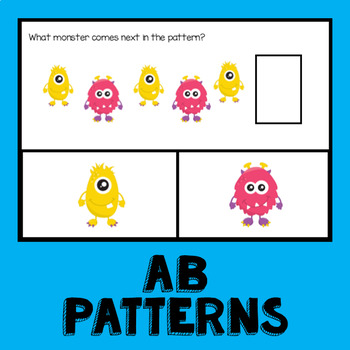 Monster Math Pattern Cards AB ABB AAB AABB ABC Patterns