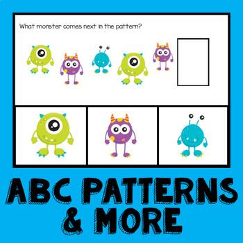 Monster Math Pattern Cards AB ABB AAB AABB ABC Patterns