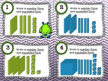 Monster Math Place Value - Task Cards Common Core Aligned