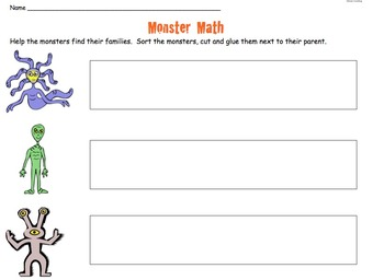 Monster Math Sorting Worksheet Freebie