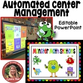 Monster Math Stations - automated powerpoint for station/c