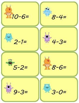 Monster Math Subtraction Center