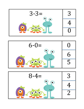 Monster Math Subtraction Center Activity