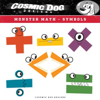 Math Symbols Clip Art - Fun Monsters Set