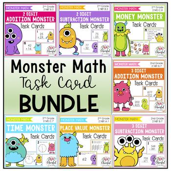 Monster Math Task Card BUNDLE (2nd Grade)