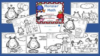 Monster Math Task Card & Color by Number Bundle / Addition and Subtraction Facts