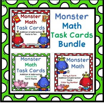 Monster Math Task Card & Color by Number Bundle / Addition